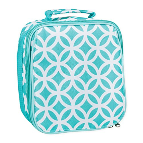 Aqua Circle Link Water Resistant Zipper Closure Insulated Soft Cooler Lunch (Turquoise Lunch Box)