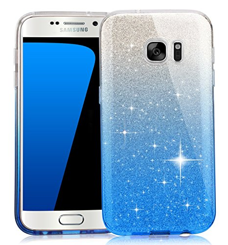 TOZO Case for Galaxy S7 SHINY Shadow Series [Bling Crystal] Ultra Thin Sparkle Premium 3 Layer Hybrid Semi-transparent Lightweight / Exact Fit / Soft Case for Samsung Galaxy S7 Blue (Blue Shiny)