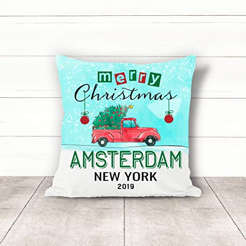 Halloween 2019 Amsterdam (Christmas Pillow Covers 18 x 18 Inches Merry Christmas 2019 Amsterdam New York NY Pillow Decorations for Xmas Autumn Pillow Covers Home Decor Design for Sofa Bedroom)