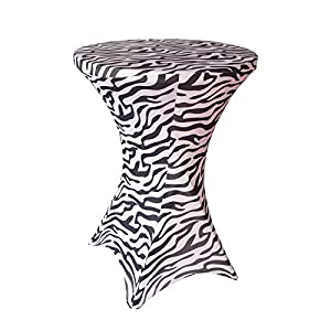 36 Inch Linen Spandex Fitted Stretchable Round Tablecloth for Cocktail Table, 36 by 42 Inch, Zebra Print