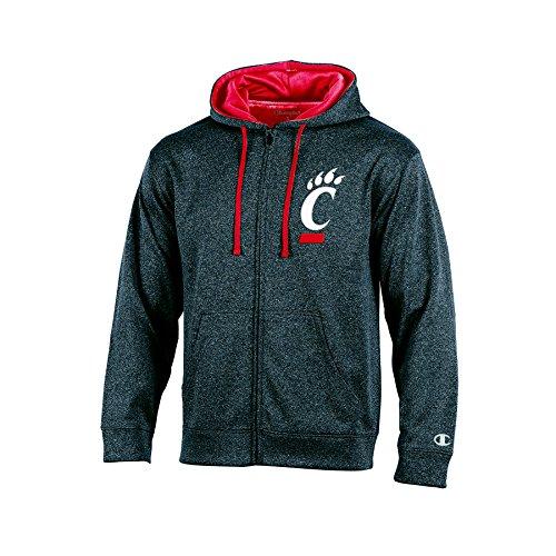 NCAA Cincinnati Bearcats Adult Men Full Zip Hood with Contra, XX-Large, (Anthracite Apparel)