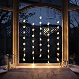 Indoor Star Curtain Light with 40 Warm White LEDs on Clear Cable by Lights4f