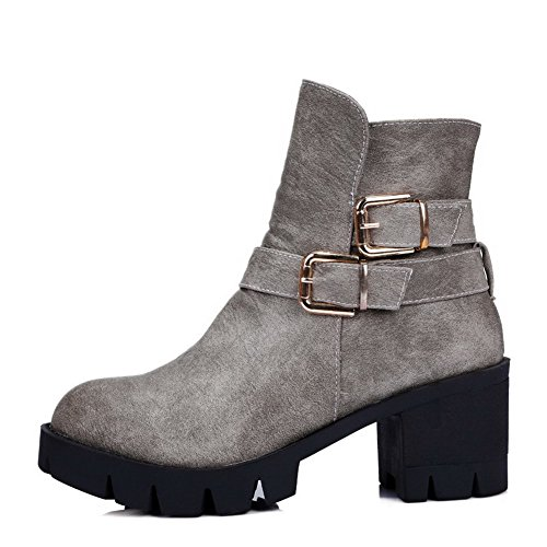 Low Boots Round Closed top Heels Kitten Women's Toe PU Gray Zipper AgooLar 6pxwS811