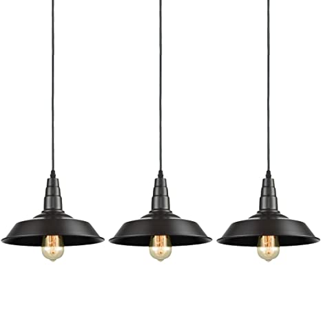 AXILAND Farmhouse Industrial Oil Rubbed Bronze Pendant Metal Hanging  Kitchen 3 Lights