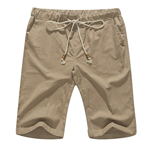 Janmid Men's Linen Casual Classic Fit Short (L, Dark Khaki)