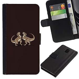 YiPhone /// Tirón de la caja Cartera de cuero con ranuras para tarjetas - Dinosaurio divertido T-Rex Lucha - Samsung Galaxy Note 3 III