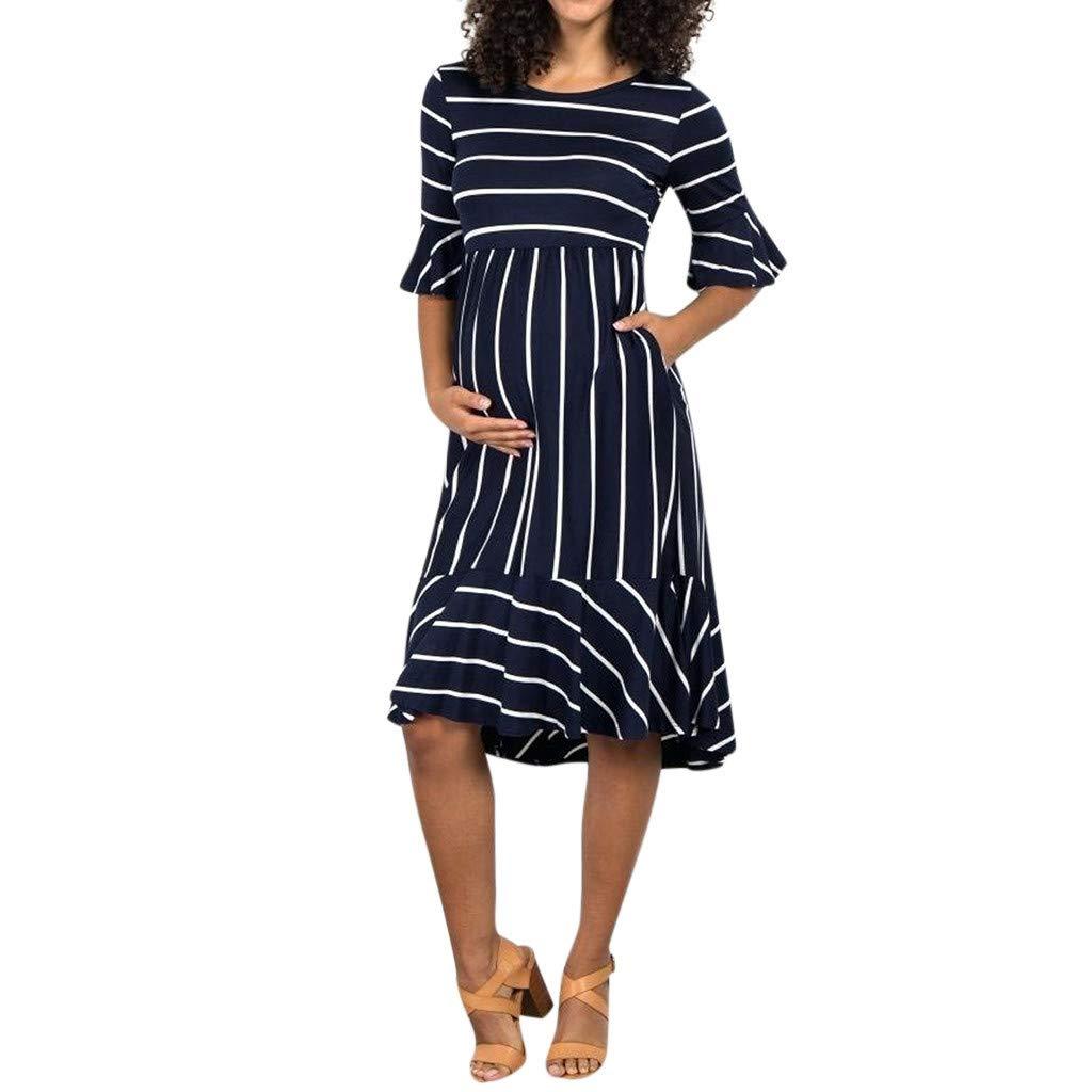 7edefd346bf04 Amazon.com: Luonita Womens Stripe Pregnancy Dress Casual Sweet Short  Ruffles Sleeve Midi Maternity Dress: Clothing