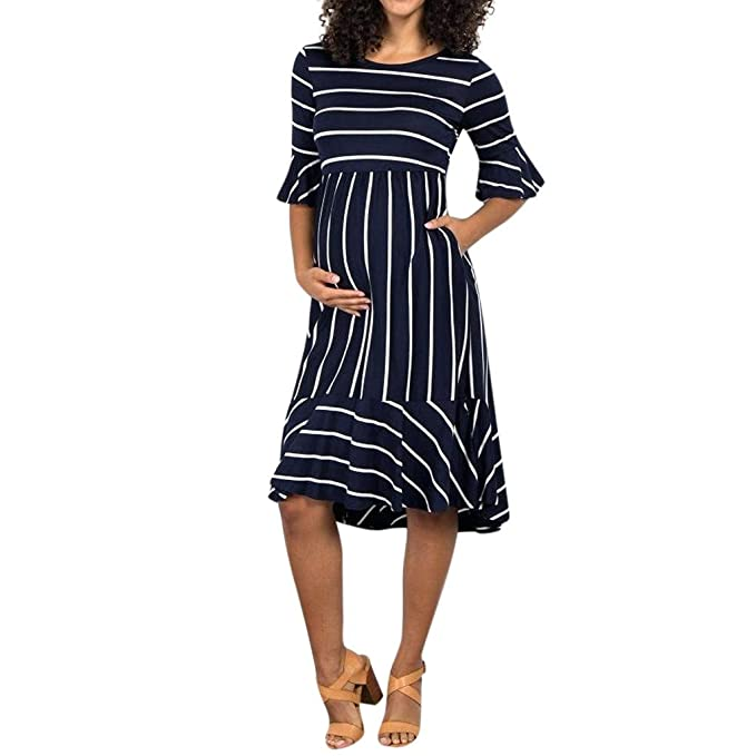 34ae7ca492e Amazon.com  Luonita Womens Stripe Pregnancy Dress Casual Sweet Short  Ruffles Sleeve Midi Maternity Dress  Clothing
