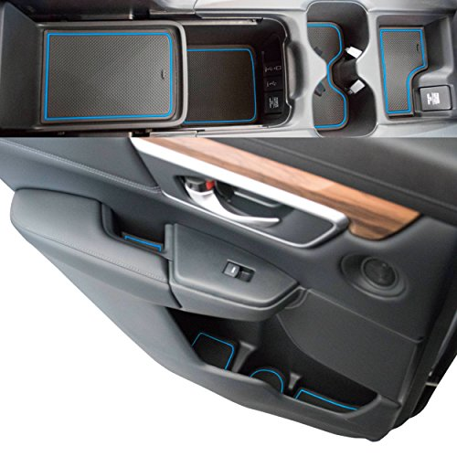 Custom Fit Cup, Door, Console Liner Accessories for 2019 2018 2017 Honda CR-V CRV (Blue Trim)