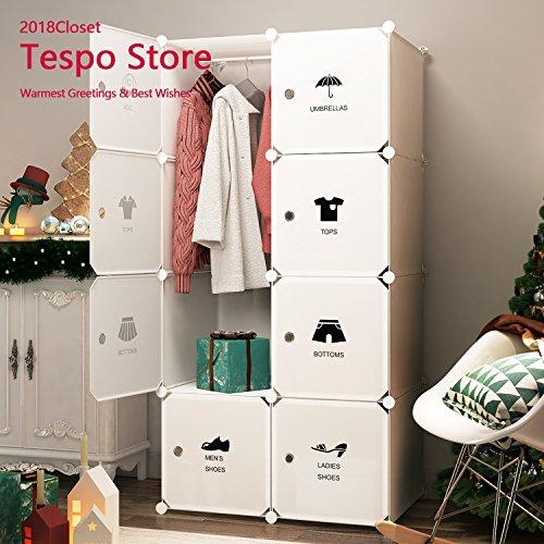 Tespo Portable Closet Clothes Wardrobe Organizer Plastic Organizer DIY Cube Bedroom...