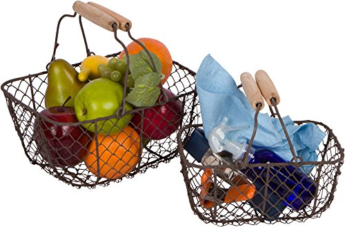 Trademark Innovations Wire Nesting Egg Baskets with Wooden Handles - Vintage Style - By (Set of 2)