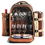 HapTim Strong Picnic Backpack for 4 Person with Cutlery Set - Cooler Compartment - Detachable Bottle/Wine Holder - Fleece Blanket for Picnic, Outdoor, Sports, Hiking, Camping, BBQs (Brown 3065)