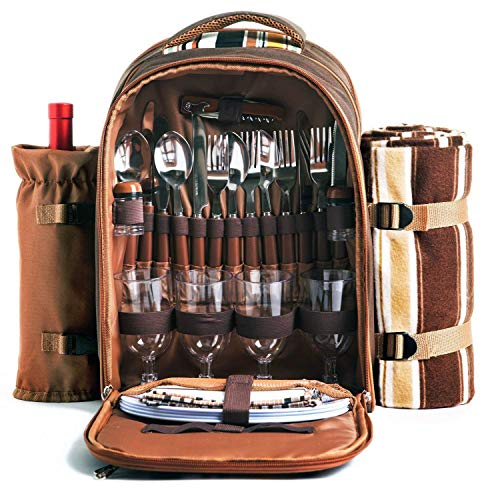 Picnic Backpack Bag for 4 Person With Cooler Compartment, Detachable Bottle Wine Holder, Fleece Blanket, Plates and Cutlery Set Perfect for Outdoor, Sports, Hiking, Camping, BBQs Coffee
