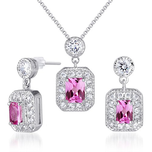 Created Pink Sapphire Pendant Earrings Set Sterling Silver Rhodium Nickel Finish Radiant Cut 2.50 Carats