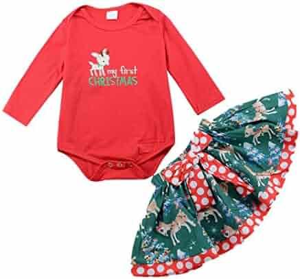 Scarf Set Outfits FTXJ 3PCS Christmas Toddler Kids Baby Girls Long Sleeve Snowman Print Tops Pants