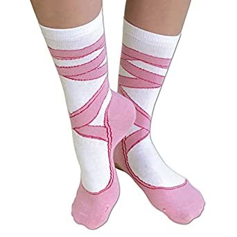 Bits and Pieces - Novelty Socks - Ballerina - Silly Socks - Machine Washable - Cotton-Rich Socks, Fun Great Gift - Pink - Adult Size 6-12