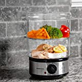 Ovente Electric Food Steamer 5 Quart Double Tier