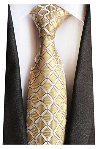 MENDENG Black Gold Striped Tie Woven Jacquard Silk Men's Suits Ties Necktie (Suit Woven Silk)