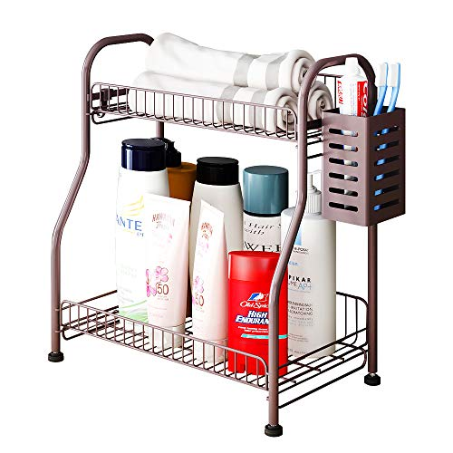 Bathroom Counter Organizer Shelf With Toiletries Basket, 2-Tier Standing Kitchen Spice Rack for Spice Can Jars Bottle…