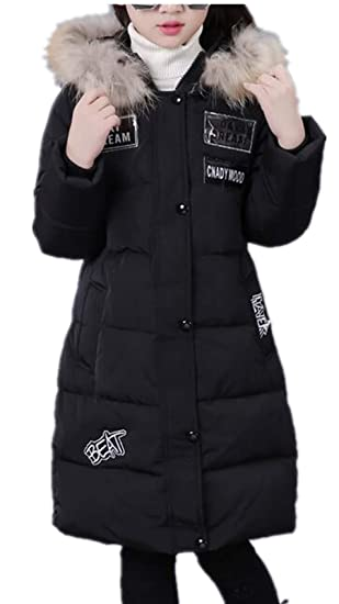 MILEEO Girls Coat 2018 Girls Puffa Warm Coat Jacket Quilted Hooded Clothing with Faux Fur Hood