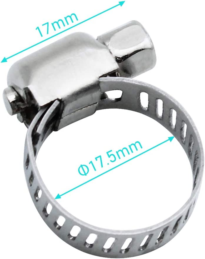 BlueXP 12 Pi/èces Tuyau Clips 10 16 mm Rr/églable en Acier inoxydable Colliers de Serrage pour Famille Tuyau Deau