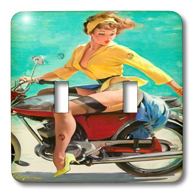 3dRose lsp_171618_2 Image of Famous Elvgren Pinup Girl on Motorcycle Light Switch Cover -