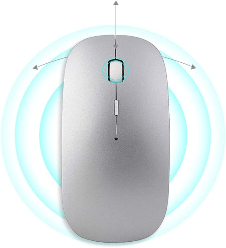 Rechargeable Space Silver Button Mute GUO QING WANG Wireless Bluetooth 4.0 Dual-Mode Mouse Suitable for All Brands of Laptops//Desktop//Tablet//Mobile//Smart Tv