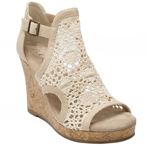 Sugar Women's Hues Cork Wedge Crochet Sandal with Buckle 8.5 Natural ()