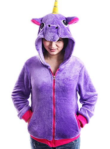 AooToo Unicorn Jacket Hoodies for Girls Costumes Sweatshirt Toddlers Juniors(Purple, -
