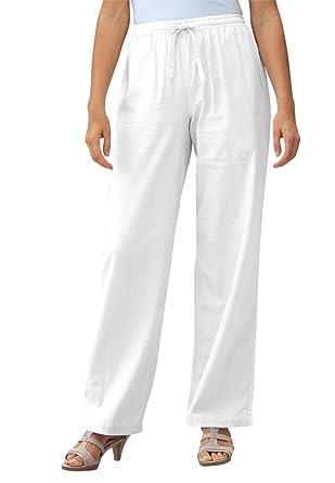 Women's Plus Size Pants In Cool Linen Blend at Amazon Women's ...