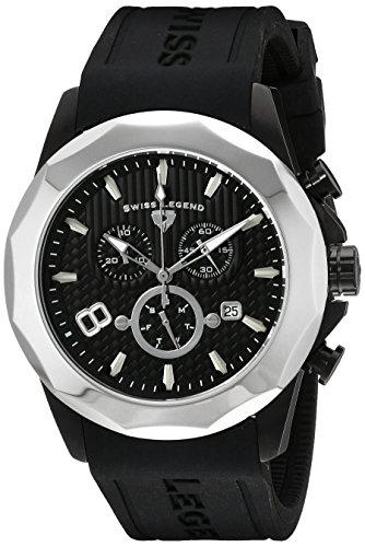 Swiss Legend Men's 10042-BB-01-SB Monte Carlo Chronograph Black Textured Dial Black Silicone Watch