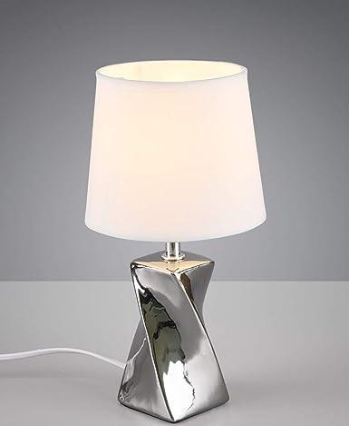 Lampada Da Comodino Design Moderna Abat Jour Lumetto Ceramica Cromo Argento Lucido Paralume Tessuto Per Camera Da Letto E27 Led Amazon It Illuminazione