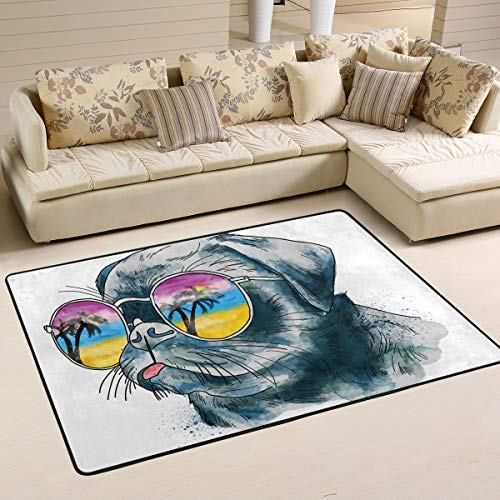 XiangHeFu Personalized Area Rugs Fashion Bulldog in Sunglasses 3'x2' (36x24 Inches) Floor Doormats Mat Soft for Living Room Bedroom Home Kitchen Decorative