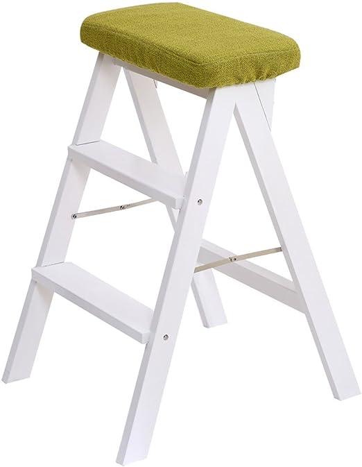 Taburetes Escalera plegable, taburete de escalera de madera maciza portátil taburete de seguridad de cocina taburete taburete plegable taburete balcón escalera de madera maciza taburete alto multifunc: Amazon.es: Hogar