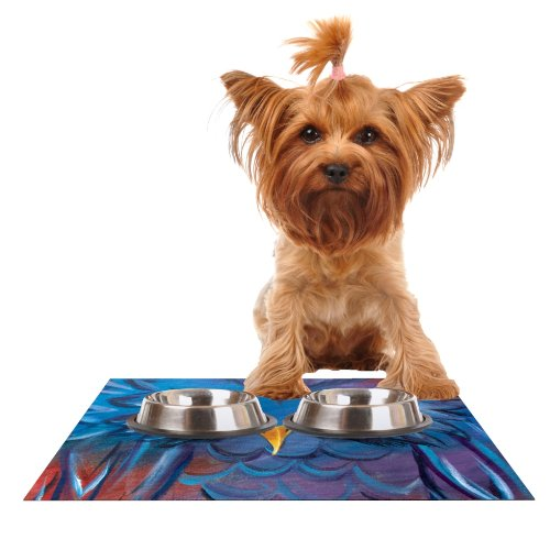 Kess InHouse Padgett Mason Hoot  Feeding Mat for Pet Bowl, 18 by 13-Inch