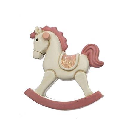 Cavallo A Dondolo Legno Bomboniera.24 Pz Cavallo A Dondolo Rosa In Resina Calamita Magnete