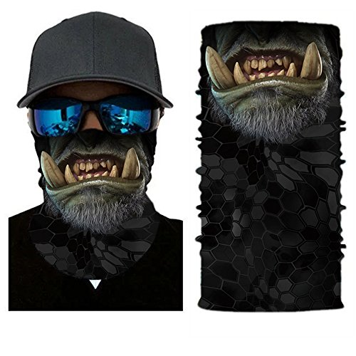 3D Animal Cycling Face Mask, Fabric UV Protection Outdoor Cycling Riding Hiking Motorcycling Mask Dust-Proof Breathable Seamless Tube Headwear Ski Snowboard Scarf Neck Warmer Balaclava Bandana,Monster (Monster Ski Helmet)