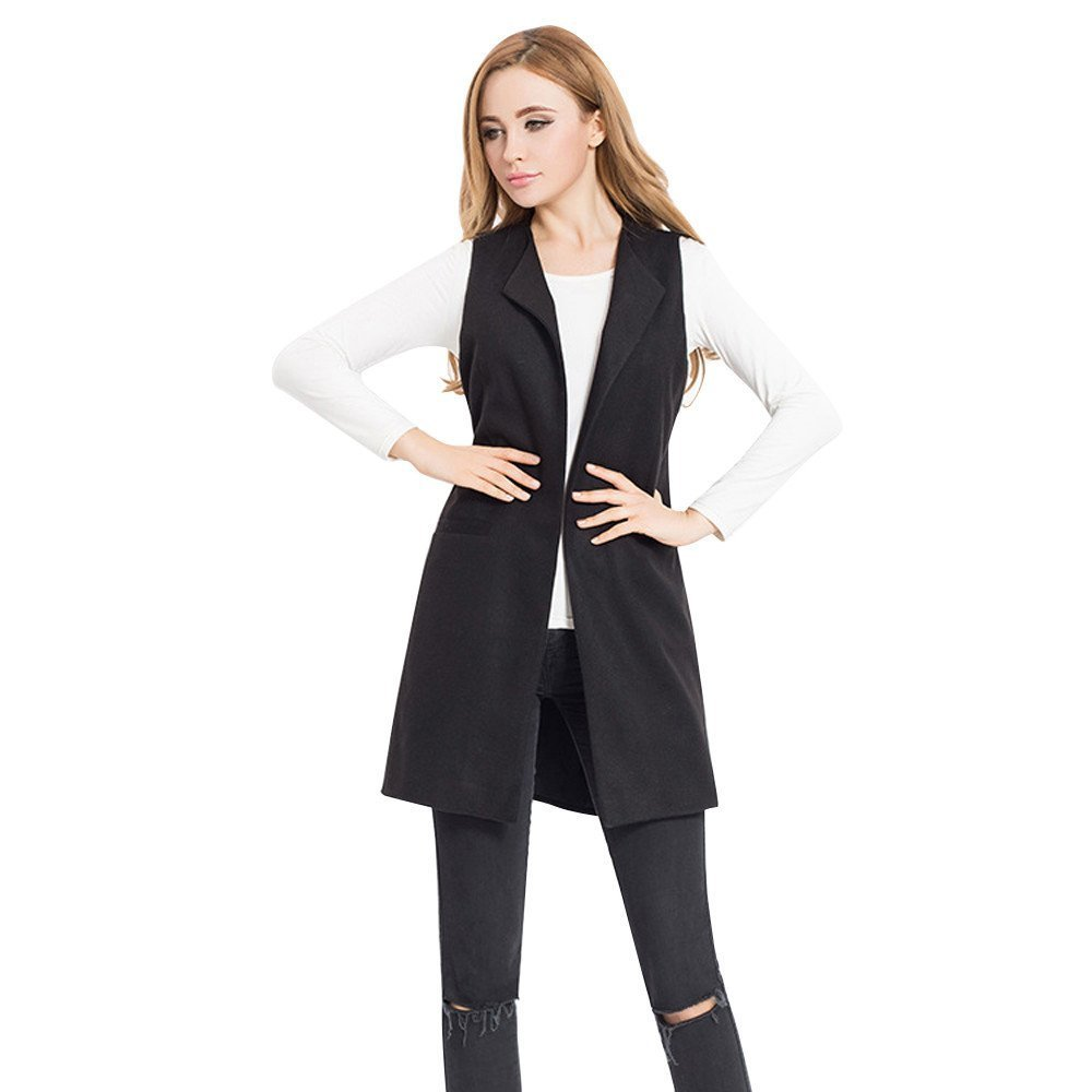 Makeupstore Women's Spring Sleeveless Waistcoat Vest, Solid Outwear Gilet Jacket Coat Parka Cardigan for Ladies