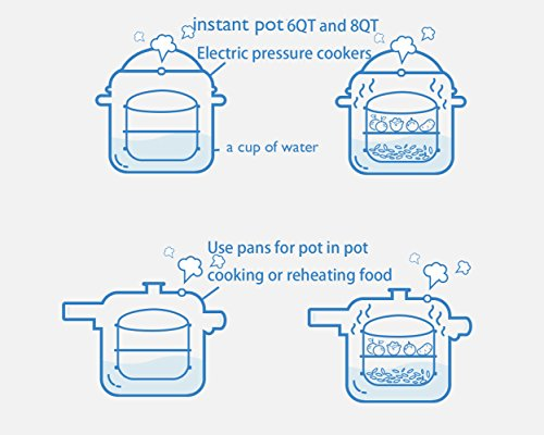 Maxrock Stainless Steel Stackable Insert Pans with Sling-Instant Pot Accessories for InstaPot 6/8 qt- Food Steamer for Pressure Cooker, Baking,Lasagna Pans-Pot in Pot Cooking-With Interchangeable Lid by MAXROCK (Image #4)