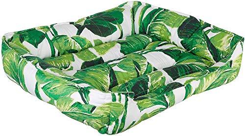 Elise & James Home Nosara Leaf Cuddler Dog Bed Medium Green/White