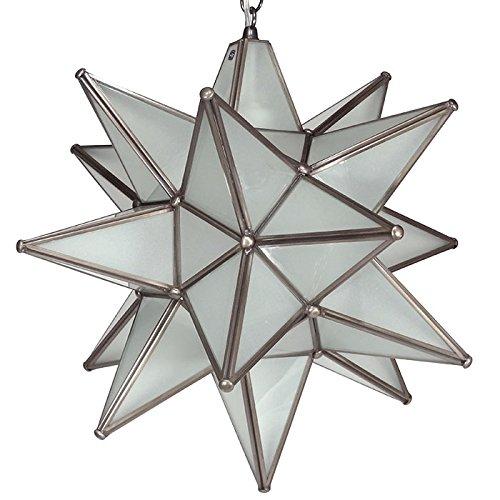 Moravian Star Pendant Light, Frosted Glass, Bronze Frame, - Pendant Star Moravian