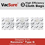 Kenmore Genuine HEPA Cloth Canister Vacuum Bags Type Q - (3 Bags Included) By VacSure