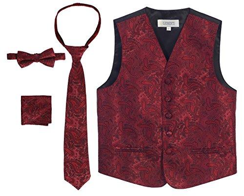 (Gioberti Boy's 4 Piece Formal Paisley Vest Set, Burgundy, Size 8)