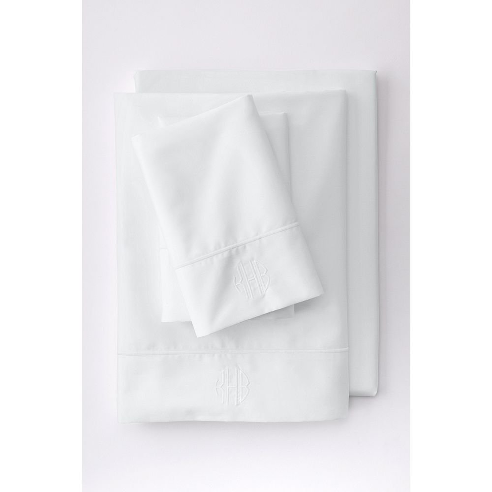Lands' End No Iron Supima Solid Sheets, Q, White