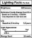 [10 Pack] Simba Lighting 20 Watt FTD 12 Volt MR11 Halogen Spotlight Bulbs 2-Pin 220lm 30° Beam Angle for Accent, Track, and Fiber Optics, GU4 Bi-Pin Base, Glass Cover, Warm White 2700K Dimmable
