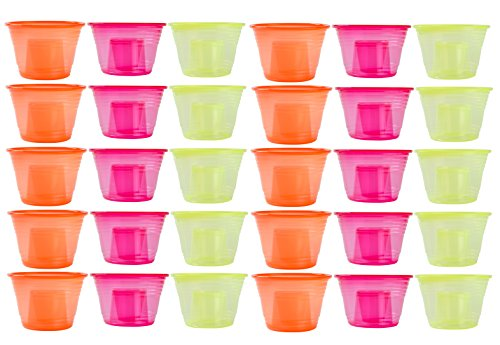 Green Direct 120 Disposable Jager Bomb Cups / The Perfect Party Cups / Two Part Shot Glasses - Neon Yellow, Neon Orange, and Pink Red