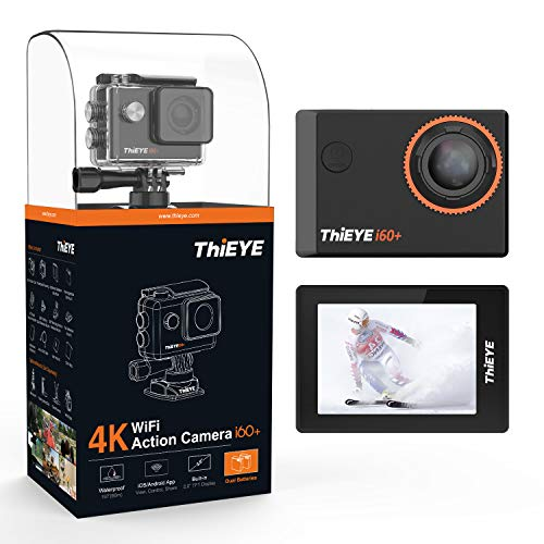 ThiEYE 4K Action Camera WiFi Waterproof Sport Video Camcorder Ultra HD 2 Screen with 170 Wide Angle, 197FT Waterproof, Dual Rechargeable Batteries and Mounting Accessories Kits(i60+)