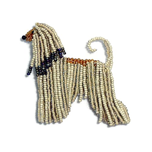 AFGHAN HOUND beaded dog pin pendant art brooch necklace (Made to Order)