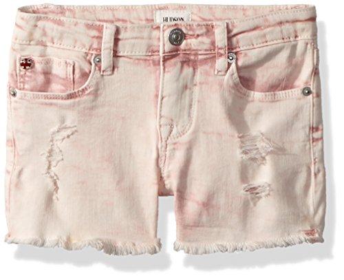 (HUDSON Girls' Big' Fashion Short, Pink Coral Acid Wash,)