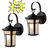 Hardware House 21-2687 Oil Rubbed Bronze Outdoor Patio / Porch Wall Mount Exterior Lighting Lantern Fixtures with Frosted Glass - Twin Pack